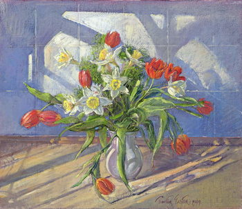 Fine Art Print  Spring Flowers with Window Reflections, 1994
