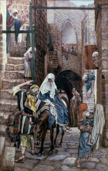 Fine Art Print St. Joseph Seeks Lodging in Bethlehem, illustration for 'The Life of Christ', c.1886-94