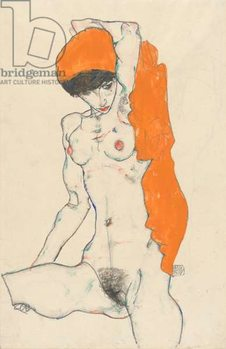 Fine Art Print  Standing Nude with Orange Drapery, 1914