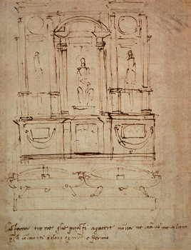 Fine Art Print  Study for a double tomb for the Medici Tombs in the New Sacristy, 1521