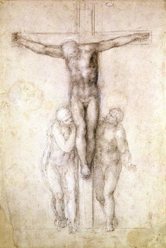 Fine Art Print  Study of Christ on the Cross between the Virgin and St. John the Evangelist (black chalk on paper)