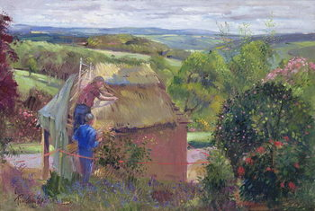 Fine Art Print Thatching the Summer House, Lanhydrock House, Cornwall, 1993