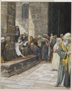 Fine Art Print  The Adulterous Woman - Christ Writing upon the Ground, illustration from 'The Life of Our Lord Jesus Christ', 1886-94