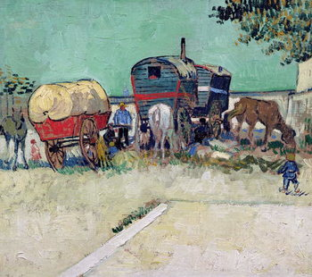 Fine Art Print The Caravans, Gypsy Encampment near Arles, 1888