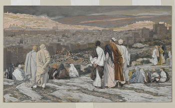 Fine Art Print The Disciples Having Left Their Hiding Place Watch from Afar in Agony, illustration from 'The Life of Our Lord Jesus Christ', 1886-94