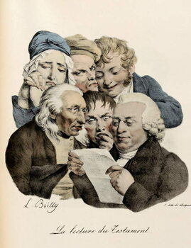 Fine Art Print The Reading of the Will Engraving by Louis-Leopold Boilly