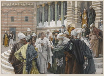 Fine Art Print The Tribute Money, illustration from 'The Life of Our Lord Jesus Christ', 1886-94