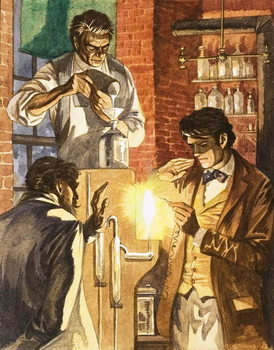 Fine Art Print Thomas Edison and Joseph Swan create the electric light
