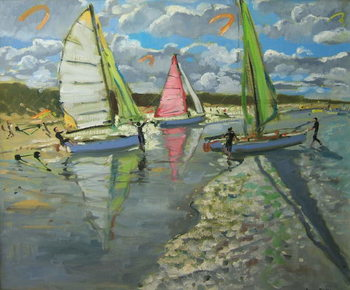 Fine Art Print Three Sailboats, Bray Dunes, France