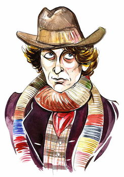 Fine Art Print Tom Baker as Doctor Who in BBC television series of same name