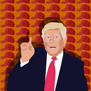 Fine Art Print Trump and the baseball cap