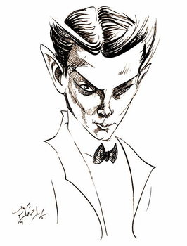Fine Art Print Vaslav Nijinsky, Russian dancer and choreographer , sepia line caricature, 2004 by Neale Osborne