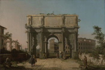 Fine Art Print View of the Arch of Constantine with the Colosseum, 1742-5