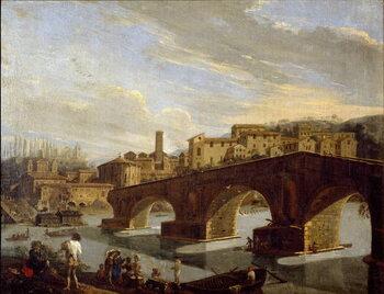 Fine Art Print View of the Tiber at the level of the break bridge in Rome Painting by Gaspare Vanvitelli (Gaspar van Wittel, Caspar Van Vitelli)  Dim 39,5x51 cm Milan, Galleria d'Arte Moderna