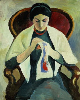 Fine Art Print Woman Sewing