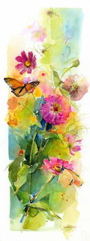 Fine Art Print Zinnias and butterflies, 2015,