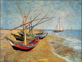 Fishing Boats on the Beach at Saintes-Maries, 1888 Reproduction d'art