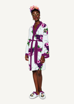Bathrobe Frida Kahlo - Violet Bouquet