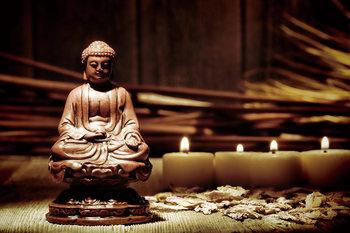 Glass Art Buddha - Candles