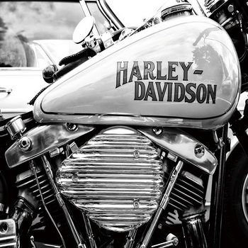 Glass Art  Harley Davidson b&w