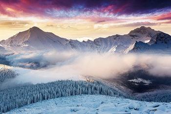 Glass Art Misty Mountains