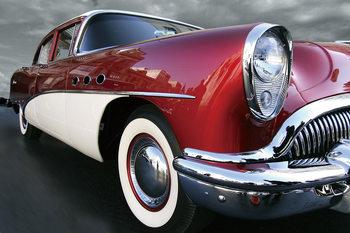 Glass Art Red Cadillac b&w
