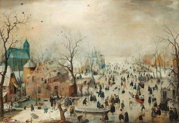 Glass Art  Winter Landscape With Skaters, Hendrick Avercamp