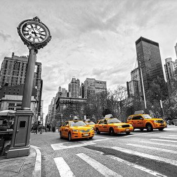 Glass Art Yellow Taxi - b&w