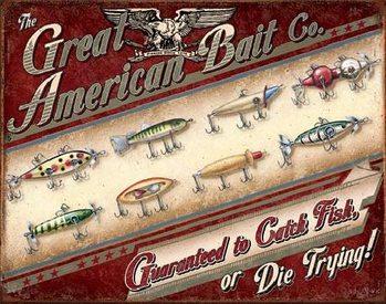 GREAT AMERICAN BAIT CO. Plaque métal décorée