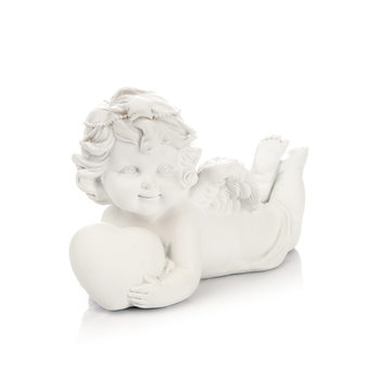 Angel Lying on Stomach with Heart, 9 cm Home Decor