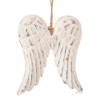 Angel Wings Wooden Hanging Decoration White, 13 cm Home Decor