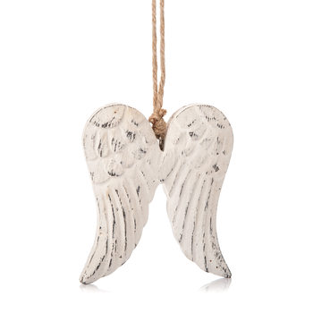 Angel Wings Wooden Hanging Decoration White, 9 cm Home Decor