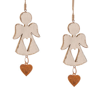 Angel Wooden Hanging Decoration with Heart, 16 cm, set of 2 pcs Home Decor