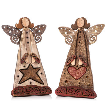 Angel Wooden Standing with Heart and Star, 25 cm Home Decor