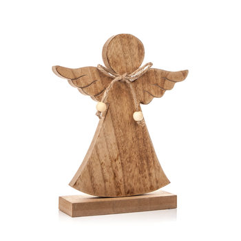 Angel Wooden with Bow, 21 cm Home Decor
