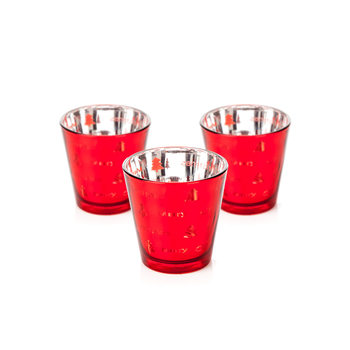 Candle Holder Narrow Merry Xmas Red 7 cm, set of 3 pcs Home Decor