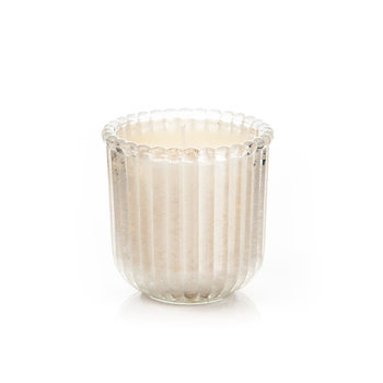 Candle in Glass Metal - Vanilla, White Wide 7,5x7,5 Home Decor