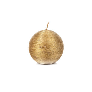 Candle Round 8 cm, Gold Home Decor
