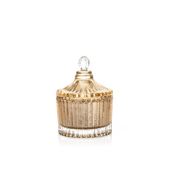 Candle with Lid Metal - Vanilla, Gold 9 cm Home Decor