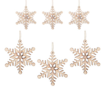 Hanging Wooden Snowflake, 12 cm, set of 6 pcs Home Decor
