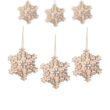 Hanging Wooden Snowflake, 8 cm, set of 6 pcs Home Decor