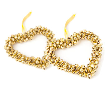 Heart with Gold Bells, 10 cm, set of 2 pcs Home Decor