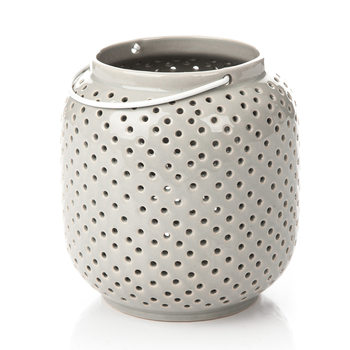 Lantern Holey, 14 cm Gray Home Decor