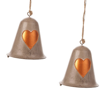 Metal Bell Bronze Heart, 10 cm, set of 2 pcs Home Decor
