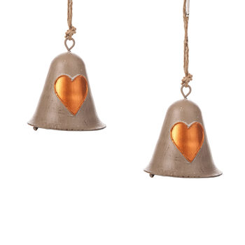 Metal Bell Bronze Heart, 8 cm, set of 2 pcs Home Decor