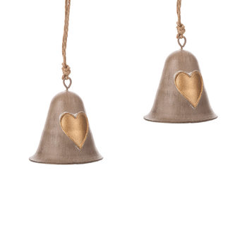 Metal Bell Gold Heart, 8 cm, set of 2 pcs Home Decor