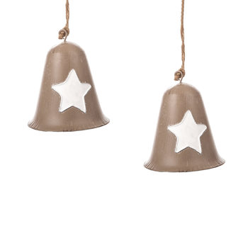 Metal Bell White Star, 10 cm, set of 2 pcs Home Decor