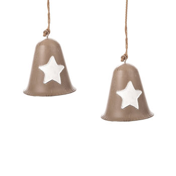 Metal Bell White Star, 8 cm, set of 2 pcs Home Decor