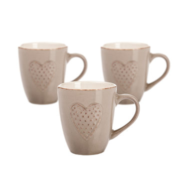 Mug Brown Embossed Heart 300 ml, set of 3 pcs Home Decor