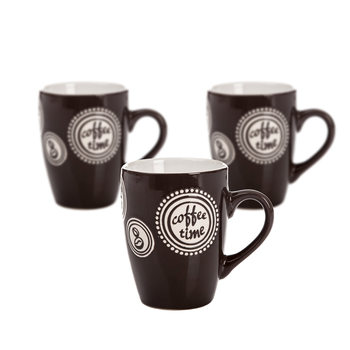 Mug Coffee Time - Dark Brown 300 ml, set of 3 pcs Home Decor